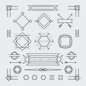 Line and Geometric Labels and Badges Monochrome