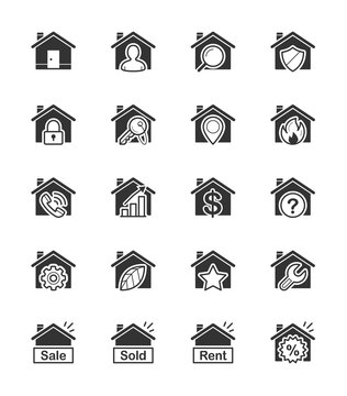 Real Estate & House icon on White Background - Vector Illustration