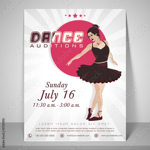 flyer template and brochure for dance audition stock image and