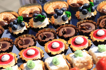 Printed kitchen splashbacks Dessert desserts and sweets on the table. catering