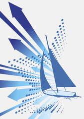 Before the wind.Abstract blue wind with yacht and star