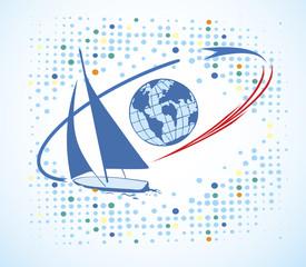 Big blue yacht around the world.Yacht club logo
