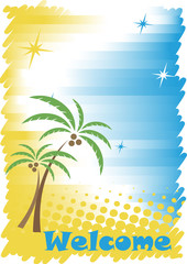 Sunny tropic seacoast with golden sand,blue water and palms