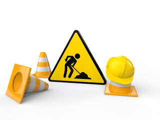 3d men at work sign and cones