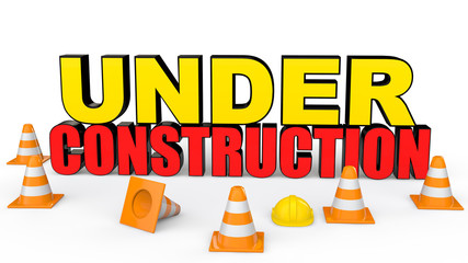 3d safety cones and under construction text