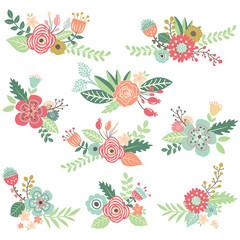 Vintage Hand Drawn Floral Set