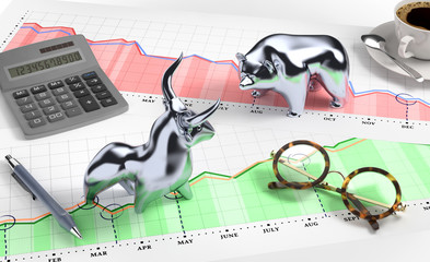 Bull and Bear on 'Desktop Stock Market'. 3D rendered graphics.
