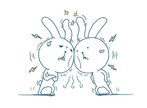 対立するウサギ