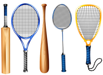 Rackets and bat