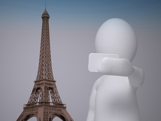 3d abstract human, white man taking selfie in front of Eiffel tower in Paris