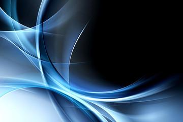 Obraz Creative Blue Light Waves Art Abstract Design - fototapety do salonu