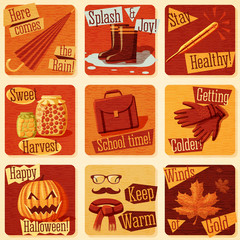 Collection of cute retro stylized autumn illustrations with fall