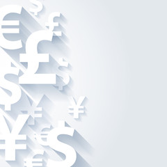 Currencies symbols paper white background.