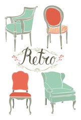 Card with four retro armchairs