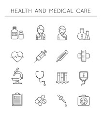 Medical and Healthcare outline icons set. Vector collection of healthy life symbols & medication equipments.