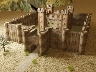 3d render medieval stronghold building exterior locates on cracked ground