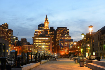 Boston Custom House, Long Wharf and Financial District skyline at night, Boston, Massachusetts
