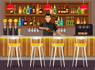 Иллюстрация бара с барменом,на заднем плане множество разнообразных бутылок с алкоголем.