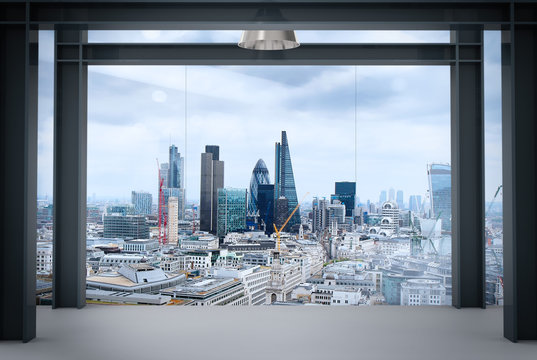 interior space of modern empty office interior with london city