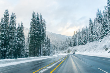 road to the snow mountain in winter season,in Washington ,USA