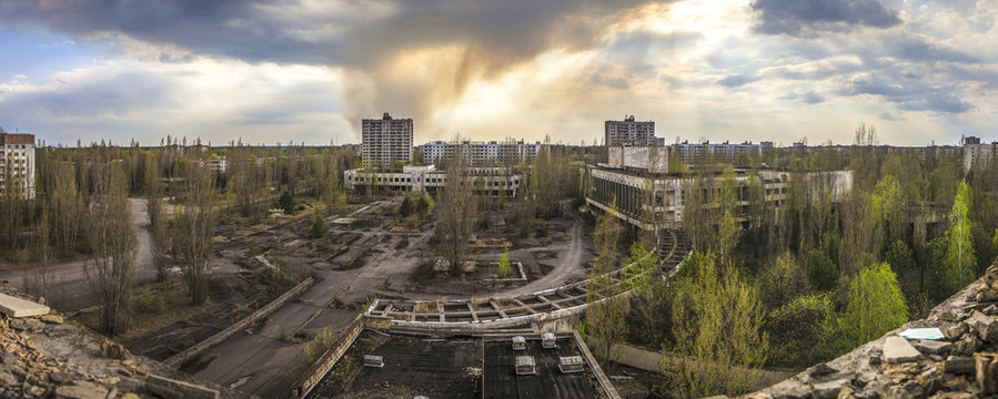 Chernobyl - Wide angle view of Pripyat