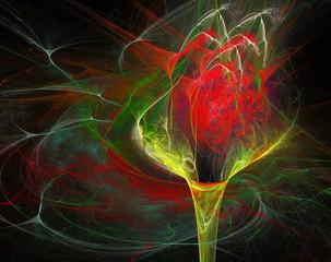 fractal illustration background bright flower in a vase