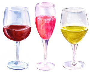 Watercolor set of three wine glasses on white background