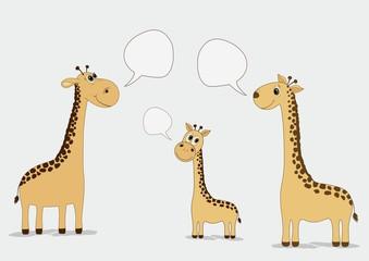 Cute giraffes with speech bubble
