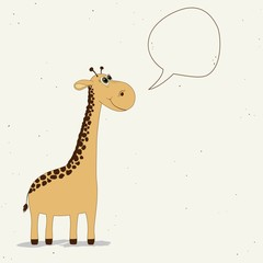 Cute giraffe with speech bubble