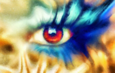 women eyes beaming, color effect, painting collage, blue makeup