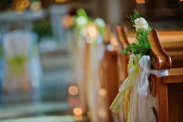decorated at church in wedding ceremony