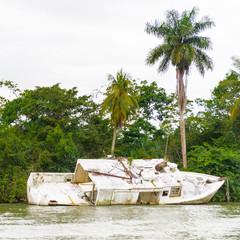 Crashed boat on the coast of Guatemala,