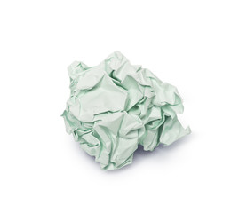 crumpled green paper ball