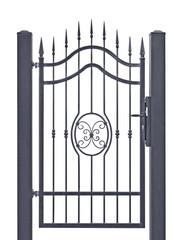 Forged decorative pedestrian gate, isolated vertical large detailed dark grey silhouette closeup, wrought iron fleur-de-lis lattice