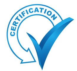 certification sur symbole validé bleu