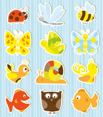 set of cute little creatures - stickers collection for children
