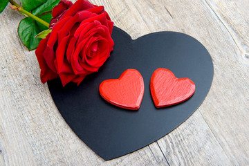 black and red hearts and rose for Valentine's day