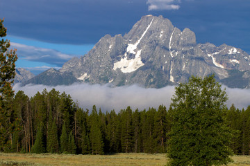 Glacier on a mountain in Grand Teton National Park in Wyoming