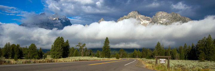 Fogbank in Grand Teton National Park in Wyoming