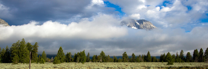 Panorama of a fogbank in Grand Teton National Park in Wyoming
