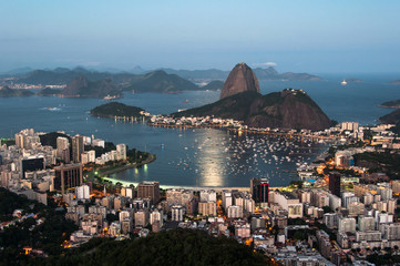 Sugarloaf Mountain in Rio de Janeiro by Sunset