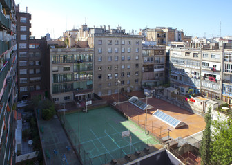 Barcelona, the yard of a house with the sports ground