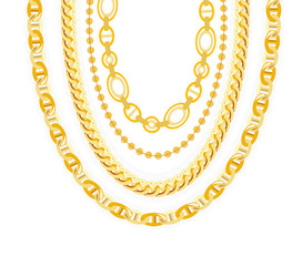 Gold Chain Jewelry. Vector Illustration.