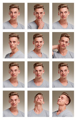 Collage of male teenager portraits