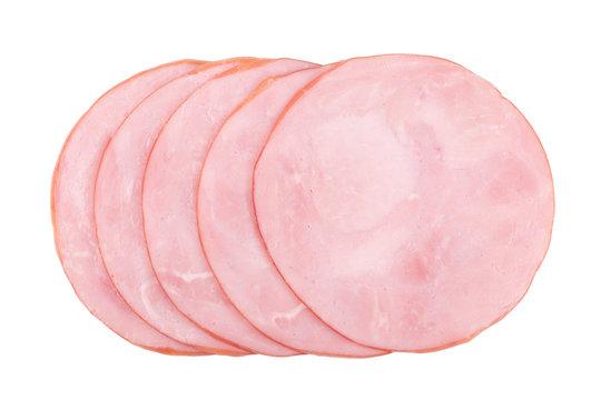 smoked ham isolated on white background