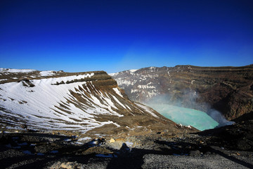 Naka crater, part of Aso San volcano, Kyushu, Japan. A famous tourist destination.