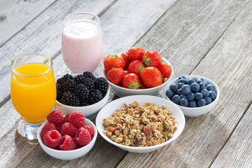 healthy breakfast with berries on wooden background