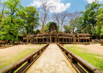 Entrance to ancient Ta Prohm temple in Angkor, Cambodia