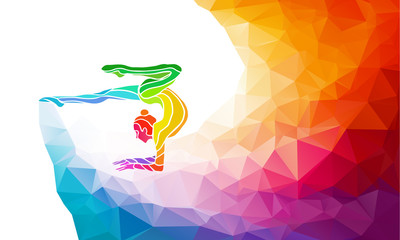 Creative silhouette of gymnastic girl. Art gymnastics with ball
