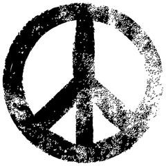 Friedenszeichen, schwarz-weiß, Vektor, Grunge, freigestellt